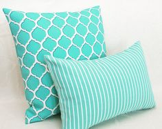Turquoise Decorative Throw Pillows - Inside Outside Cushion Covers <3
