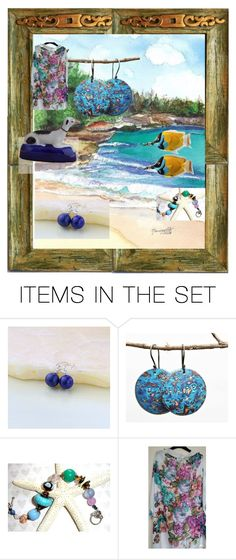 """""""At Kauai Beach"""" by owlartshop ❤ liked on Polyvore featuring art, jewelry and EtsySpecialT"""