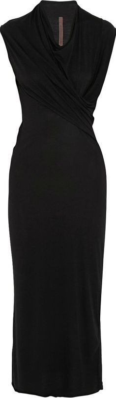 http://www.trendzystreet.com/clothing/dresses - Rick Owens ● midi length wrap dress. So simple yet so elegant. So versatile. Will take you from boardroom to evening: