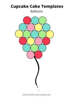 Over 200 Free pull-apart cupcake cake templates Balloon Cupcakes, Pastel Cupcakes, Ladybug Cupcakes, Kitty Cupcakes, Snowman Cupcakes, Cupcake Template, Cake Templates, Number Templates, Templates Free