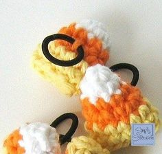 Candy Corn Hair Ties free crochet pattern - 10 Free Crochet Patterns For the Fall