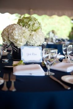 Beautiful for a wedding on the water! navy, green and white. Hydrangeas have victorious volume!