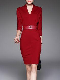 Shop Work Dresses - Burgundy 3/4 Sleeve Sheath V Neck Solid Midi Dress online. Discover unique designers fashion at StyleWe.com.
