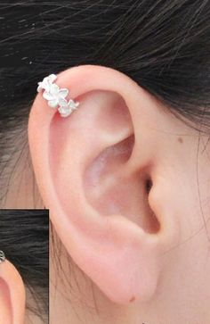 Amazon.com: Tofan 925 Sterling Silver Garland Cartilage Ear Cuff Wraps Clip Nonpierced Earring: Jewelry