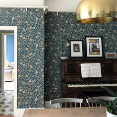 """MorrisandCo on Instagram: """"We love how Instagrams @woodchip_and_plasterdust have used Bird & Pomegranate across the whole wall in this room. Beautiful!…"""" William Morris, Our Love, Pomegranate, Curtains, Bird, Living Room, Wallpaper, Interior, Murals"""