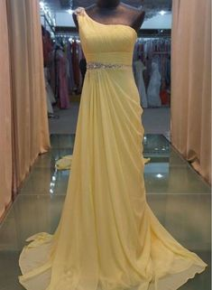 Yellow Prom Dress, Chiffon Party Dress, Floor Length Party Gowns – BeMyBridesmaid