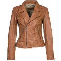 Korintage by Serge Pariente NEW PERF SUMMER Leather jacket featuring polyvore, women's fashion, clothing, outerwear, jackets, casacos, coats, coats & jackets, brown, pocket jacket, real leather jackets, brown jacket, genuine leather jackets and zip jacket