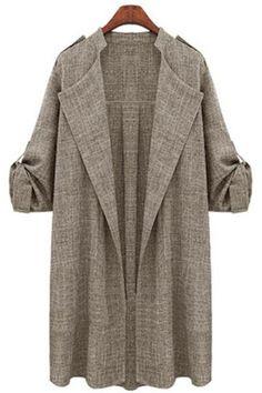 27745877a77 Women Trench Coat Spring Autumn Long Sleeve Plus Size Slim Windbreaker Open  Stitch Cardigan Jacket khaki