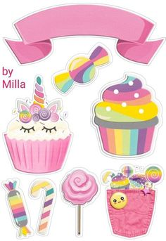 Unicorn Birthday, Unicorn Party, Disney Cake Toppers, Happy Birthday Blue, Cupcake Pictures, Birthday Clipart, Kids Prints, Handmade Birthday Cards, Printable Stickers