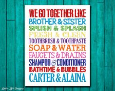 Hey, I found this really awesome Etsy listing at https://www.etsy.com/listing/228859787/brother-sister-bathroom-wall-art-sibling