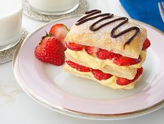 Bakery Napoleons are good, but this make-at-home version, with puff pastry, vanilla pudding, fresh strawberries and lots of whipped cream, are so much better!