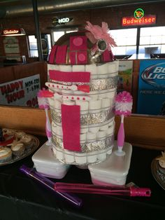 """Miss R2D2"" Diaper Cake Made for a Baby Girl who's daddy loves Star Wars!"