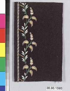 Sample Date: early 19th century Culture: French Medium: Silk and metal thread on felt Dimensions: L. 4 1/2 x W. 3 1/8 inches 11.4 x 7.9 cm Classification: Textiles-Embroidered Credit Line: Gift of The United Piece Dye Works, 1936