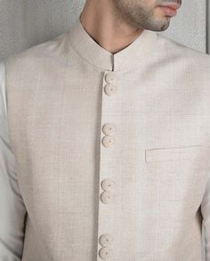 Cream Bandi with Ivory Kurta Set