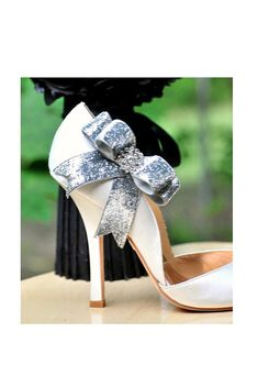Shoe Clips, or Hair Clips, set of TWO. Custom solid satin ribbon available :)    These simple yet elegant SILVER bow shoe clips (Pict 1) or GOLD