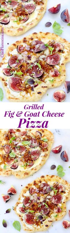 A simple grilled fig and goat cheese pizza made with rustic pizza dough, creamy whipped goat cheese, sweet purple figs & caramelized onions. Fig Pizza, Goat Cheese Pizza, Paleo Dinner, Easy Dinner Recipes, Appetizer Recipes, Appetizers, Fruit Recipes, Pizza Recipes, Vegetarian Recipes