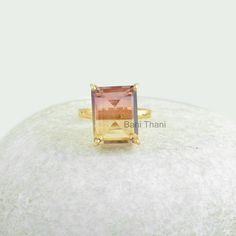 Prong Set Ring Custom Ring Tourmaline Bi Doublet by BaniThani