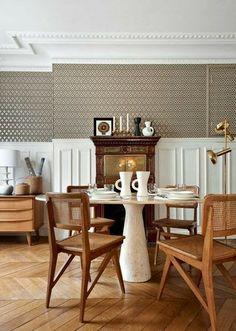 A Paris Haussmann apartment in white, cream and caramel. via Noir Blanc un style.