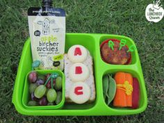 Back to school ABC Goodbyn bento lunch. Babybel and red pepper alphabet 'coins'. Lunchbox & accessories all available in NZ from www.thelunchboxqueen.co.nz
