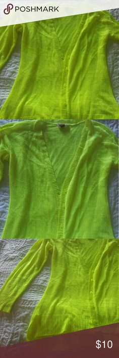 Neon yellow cardigan Light and bright cardigan lei Other