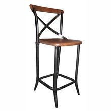 Reclaimed wood. Go industrial with this vintage style wood and metal bar stool. Use at the kitchen bar counter or in a commercial space. Great industrial style for any bar height counter.