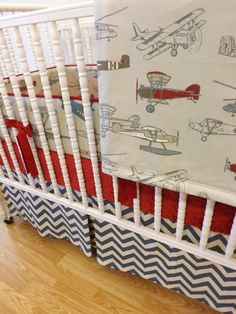 March Madness--- Baby Bedding-made To Order-4 Pc Vintage Airplane Crib Bedding…