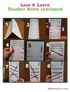 Lace and Learn -- great idea for math, vocab, states/capitals, and many other things used with flash cards! fun flash card option!