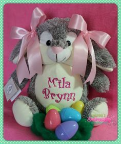 Personalized Baby Gift Easter Bunny New Baby by ReneesEmbroidery, $42.00
