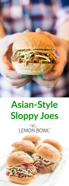 Asian-Sloppy Joes are old-school meets new-school. The sloppy joe vehicle stays the same, but it's paired with a spicy kick from the chili garlic sauce, ginger and hoisin. #asianfood #dinner #healthyrecipes #lunch