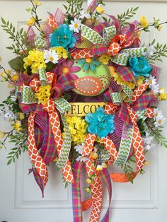 Bright Spring and Summer Welcome Mesh Wreath by WilliamsFloral