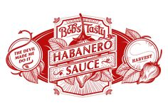 These two labels were created for a hot sauce maker in Western Massachusetts. Bob grows his own organic habaneros to make his sauce and jelly, which are produced in small batches. Packaging Design Inspiration, Logo Inspiration, Habanero Sauce, Seal Design, Cool Packaging, Scratchboard, Retro Logos, Lettering Design, Food Design