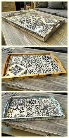 Pallet Tray, Wood Tray, Wooden Projects, Diy Furniture Projects, Office Furniture, Tile Crafts, Wood Crafts, Azulejos Diy, Painted Trays