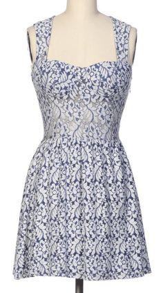 Navy Lace Sleeveless Dress