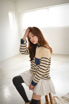 Kim Shin Yeong - Striped Sweater, Tulle Skirt, Thigh-high Socks, Long Wavy Hair