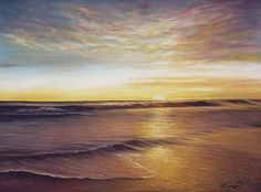 An oil painting of a Florida sunset  by Lee Hammond. Read Lee's blog at ArtistsNetwork.com~ch #Ocean #Painting #Beach