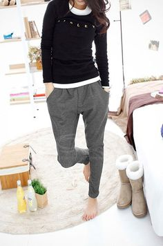 Casual Solid Color Comfortable And Warm Fitted Cotton Blend Women's Harem Pants