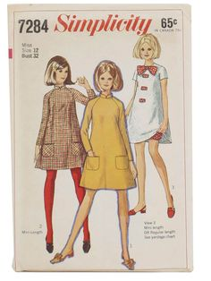 "1967 - I remember several ""tent"" dresses that I made in HS.  I liked wearing colored tights with my short dresses."