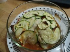 Zucchini lasagna with tomatoes feta onion and garlic