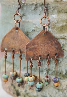 Boho Gypsy style Southwest tribal-esque Rustic Czech Beaded Copper Earrings
