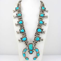 Great Navajo Sterling Silver & Turquoise Squash Blossom Necklace   G