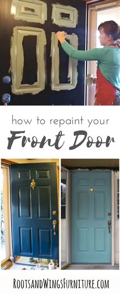 Country Home Decor Quick and easy front door makeover for updated curb appeal to your home. It doesn& take long to make a big difference in your home! General Finishes Milk Paint is the perfect front door paint! Wood Front Doors, Painted Front Doors, Front Door Colors, Glass Front Door, Front Door Decor, Glass Doors, Metal Doors, Garage Doors, Front Door Makeover
