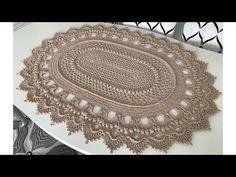 Crochet Pattern Knit Oval Mat Recipe Part 1 Knitting Yarn, Knitting Patterns, Crochet Patterns, Crochet Mandala Pattern, Crochet Stitches, Knit Rug, Crochet Carpet, Crochet Round, Crochet Videos