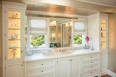 Looking for White Bathroom and Single Vanity Bathroom ideas? Browse White Bathroom and Single Vanity Bathroom images for decor, layout, furniture, and storage inspiration from HGTV. Wooden Bathroom Cabinets, Bathroom Flooring, Bathroom Furniture, Wainscoting Bathroom, Guest Bathroom Remodel, Bathroom Renovations, Modern Master Bathroom, White Bathroom, Vanity Bathroom