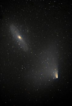 Comet PANSTARRS Meets the Andromeda Galaxy--Two objects 2.5 million lightyears apart… PanSTARRS & Andromeda. Credit and copyright: Brendan Alexander.  Read more: http://www.universetoday.com/101207/incredible-views-comet-panstarrs-meets-the-andromeda-galaxy/#ixzz2PQzi9WQ6
