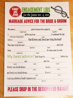"""Cute thing for guest to fill out!!! """"engagement libs"""""""