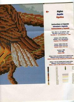 Eagles 4 of 4 Cross Stitch Owl, Cross Stitch Needles, Cross Stitch Animals, Cross Stitch Designs, Cross Stitching, Cross Stitch Embroidery, Cross Stitch Patterns, Seed Bead Patterns, Beading Patterns