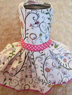 Heidi Grace Reagan's Closet Cotton Fabric Floral Vine Dog Dress. Custom hand-made small breed dog dresses and harnesses. Made in Michigan : )