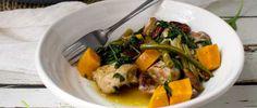 One-Pan Maple, Orange and Pecan Chicken Pecan Chicken, One Pot Chicken, Garlic Spinach, Pecan Nuts, Chicken Tenders, Fresh Green, Green Beans, Sweet Potato, Chicken Recipes
