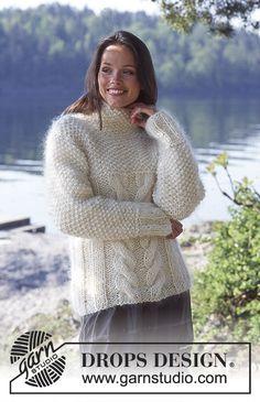 Pullover pattern by DROPS design Kids Knitting Patterns, Free Knitting, Knitting Designs, Crochet Patterns, Drops Design, Big Knits, Cardigan Pattern, Knit Crochet, Sweaters For Women