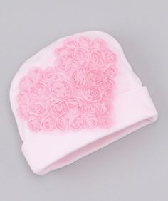 Take a look at this Pink Rosette Heart Beanie by Truffles Ruffles on #zulily today!